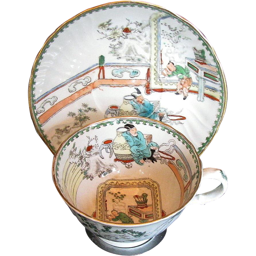 Rare Mason's Ironstone Large Breakfast Cup and Saucer, Antique Early 19th C Chinoiserie