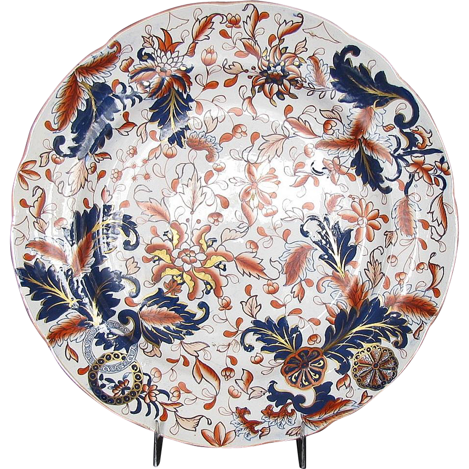 "Rare Copeland & Garrett Plate, Wild Imari ""Worcester Wheel"" Pattern, Antique English c1835, ""New Fayence"""
