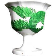 Rare Joseph Machin Porcelain Egg Cup, Green Dragon & Phoenix, Antique English Chinoiserie, c1825