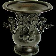 Japanese Bronze Vase, Detachable Mythical Animals, Antique 19th C, Meiji Era