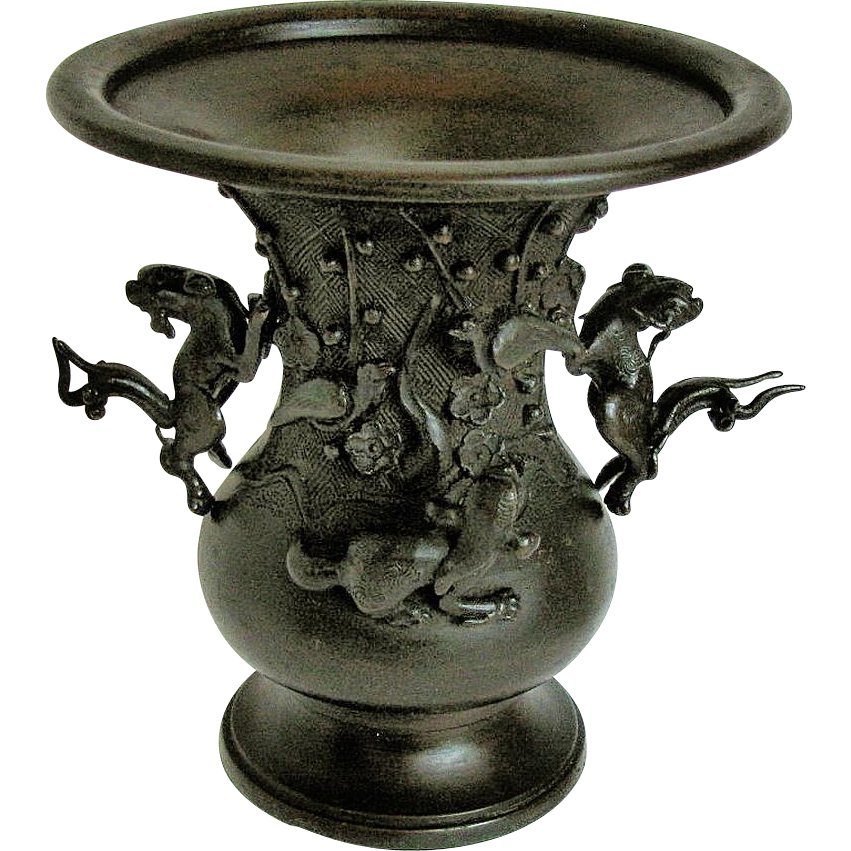 Japanese Bronze Vase, Detachable Mythical Animals, Antique 19th C, Meiji Era