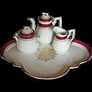 Porcelain Déjeuné Tea Set: Teapot, Creamer, Sugar, & Tray, Antique 19th C