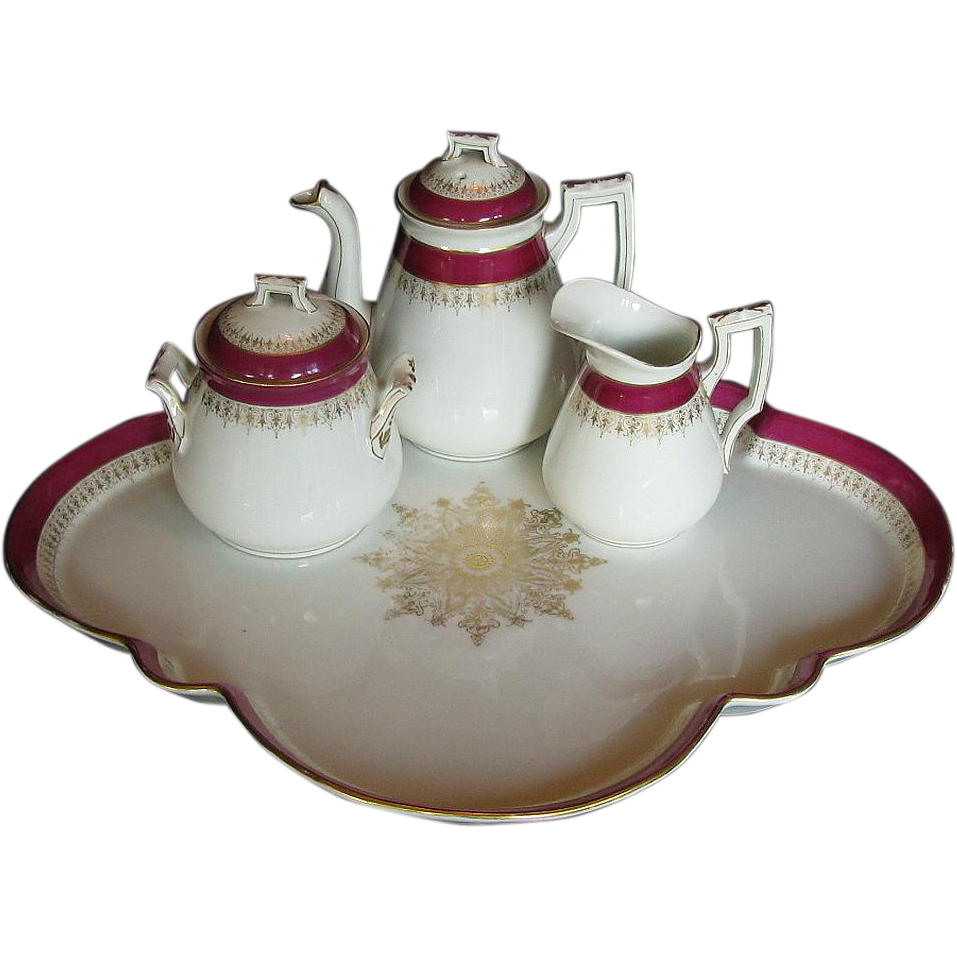 19th C Porcelain Cabaret Set: Teapot, Creamer, Sugar, & Tray, Continental