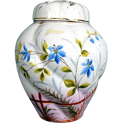 Antique Potpourri Vase,  2  Covers,  Handpainted Porcelain, 19th C