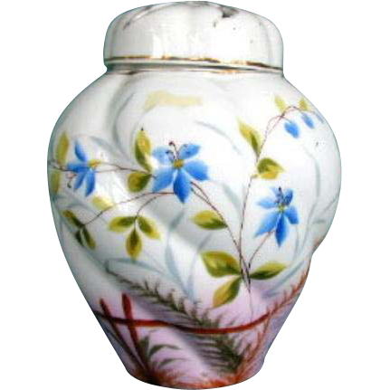 Antique Potpourri Vase,  Hand Painted Porcelain, 19th C