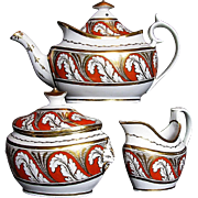 Antique English Porcelain Tea Set (Teapot, Sugar, Creamer), Early 19 C Coalport +
