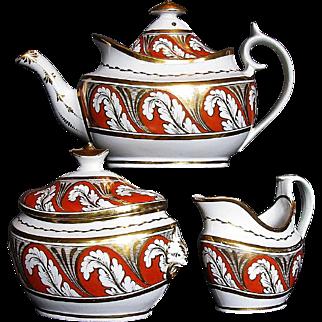 """Thomas Rose Coalport & """"Pattern Book Factory"""" Porcelain 3 piece Tea Set, Antique c 1810"""