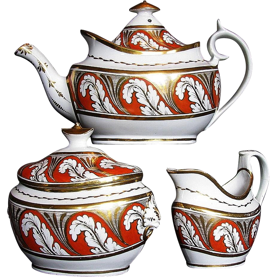 "Thomas Rose Coalport & ""Pattern Book Factory"" Porcelain 3 piece Tea Set, Antique Early 19th C English"