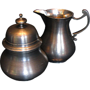 Elegant Pewter Creamer & Covered Sugar Bowl Set, 18th Century style, by John Somers, Brazil