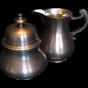 Elegant Pewter Creamer & Covered Sugar Bowl Set, 18th Century style, by John Somers, Brazil