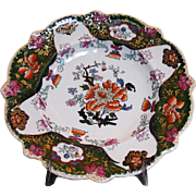 Mason's Ironstone Plate, 'Tree Peony', Antique Early 19th C Impressed Mark