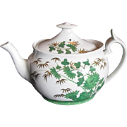 """Early Spode Teapot, Green """"Bamboo and Rock"""", Bone China, Antique c1810"""