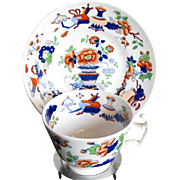 Rare Staffordshire Porcelain Cup & Saucer, Antique Chinoiserie c1820, Handley's Felspar