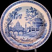 """Original Spode """"Rome"""" or """"Tiber"""" Soup Plate, Antique c1811, Rare Mark"""