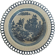 "William & John Turner Blue Printed Dessert Plate, Rare ""Elephant"" Pattern, Antique, Late 18C - Early 19C"