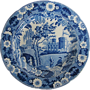 Early 19th C Blue & White Plate, Caramanian Castle Variation, Unknown Maker
