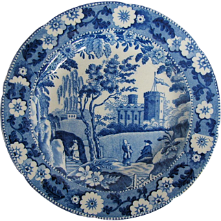 Early 19th C English Blue & White Plate, Caramanian Castle Variation, Unknown Maker