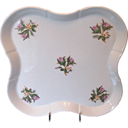 Large Moss Rose Dresser Tray/Serving Tray, Antique 19th C Porcelain