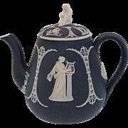 Dark Blue Wedgwood Jasperware Teapot, Sybil Finial, Antique 19th C, As/Is