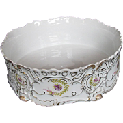 Austrian Porcelain Large Ferner Bowl, Hand Painted Violets, Antique c 1890