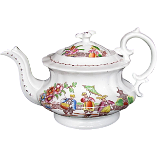 Hilditch 4-Cup Teapot, Dancing Dog, Antique 19th C English Chinoiserie