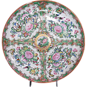 Large Chinese Export Rose Medallion Plate, No People, Antique 19th C