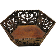 Victorian Walnut Fretwork Basket, Hexagonal, Antique 19th C Folk Art