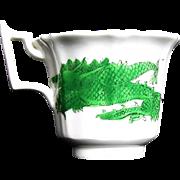 Rare Joseph Machin Porcelain Coffee Cup, Green Dragon & Phoenix, Antique English Chinoiserie, c1825