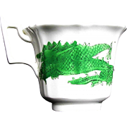 Rare Joseph Machin Porcelain Coffee Cup, Green Dragon & Phoenix, Antique English Chinoiserie, c1825