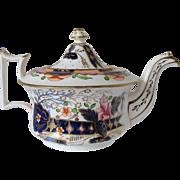 "Antique Staffordshire Porcelain Teapot, ""Old English"" Shape, Imari Colors, c1830"