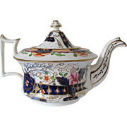 "Antique Staffordshire Porcelain Teapot, ""Old English"" Shape, Imari Colors, c1830"