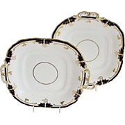 Pair of Davenport Square Serving Plates with Handles, Bone China, Cobalt Blue & Gold, Antique 19th C