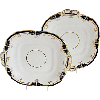 Pair, Davenport Square Plates with Handles, Bone China, Cobalt Blue & Gold, Antique 19th C
