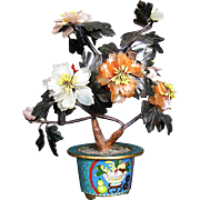 Vintage Chinese Carved Stone Flowering Tree in Cloisonne Pot