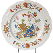 "Early Mason's Ironstone China Plate, ""Fence, Rock and Gold Flower"" Pattern,  Antique c1813"