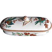 Staffordshire Pottery Razor Box/ Toothbrush Box, Bird Pattern, Antique 19th C