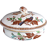 Staffordshire Pottery Soap Dish with Cover and Drainer, Bird Pattern, Antique 19th C