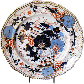"""Grainger Worcester Plate, """"Blue Ball Japan"""", Antique Early 19th C English Imari"""