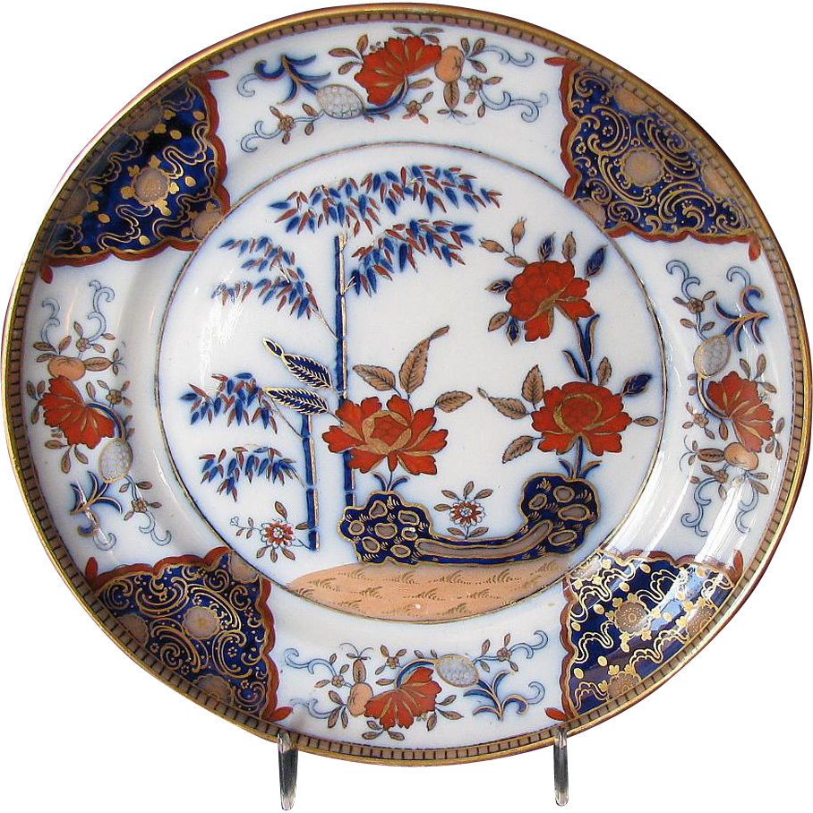 Davenport Stone China Plate, Antique Early 19th C English Imari