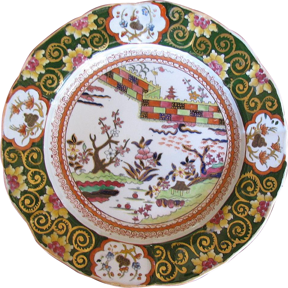 "Mason Ironstone China Plate, Rare ""Colored Wall"" Pattern, Antique Early 19th C Impressed Mark"