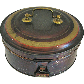 Antique Toleware Spice Box, Round, with 7 Containers, c1880