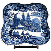 Blue Transferware Dessert Dish, Late 18C - Early 19C, Antique English Chinoiserie/Indian