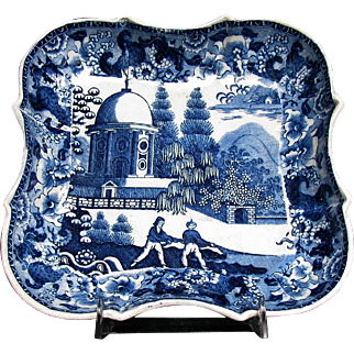 Rare Blue & White Dish, Late 18C - Early 19C, Antique English Chinoiserie/Indian