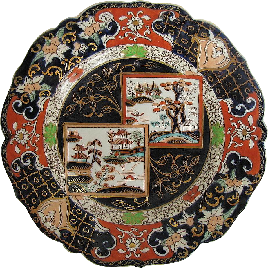 "Early Mason Ironstone Shaped Plate ""Double Landscape"", Gilding, Antique 19th C"