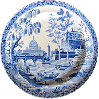 Antique Spode 'Tiber' or 'Rome' Pattern Dinner Plate, Early 19th C