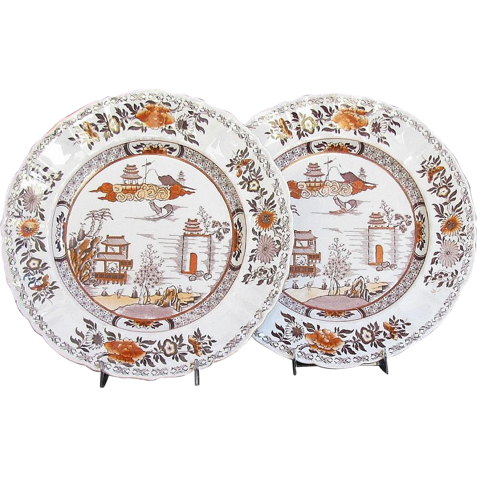 "Pair of Early Mason's Ironstone Plates, ""Chinese Mountain"",  Antique 19th C"