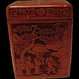 Antique Cinnabar Playing Card Box, Vertical, Two Decks