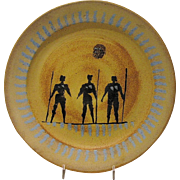 Decorative Mid Century Modern Plate, Women Warriors, Studio Pottery, Stoneware