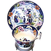 S & J Rathbone Chinoiserie Cup & Saucer, Boy with Tray, Antique 19th C English Porcelain