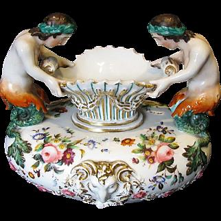 Jacob Petit-style Paris Porcelain Vase, Figural Mermaids, Antique 19th C French